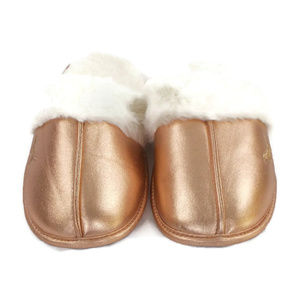 PINK Rose Gold Sherpa Lined Metallic Slippers